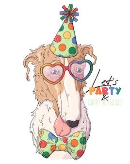 Нарисованный рукой клоун собаки борзой с аксессуарами