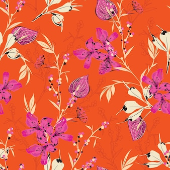 Hand drawn botanical blooming wild flower retro mood seamless pattern in vector eps10,design for fashion,fabric,web,wallpaper,wrapping on vivid orange color