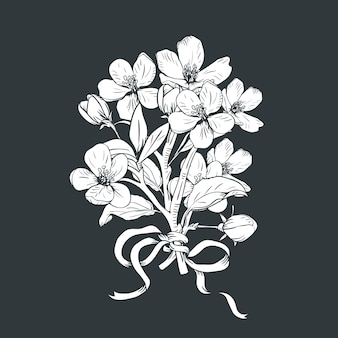 Hand drawn botanical blossom branches bouquet on black background.