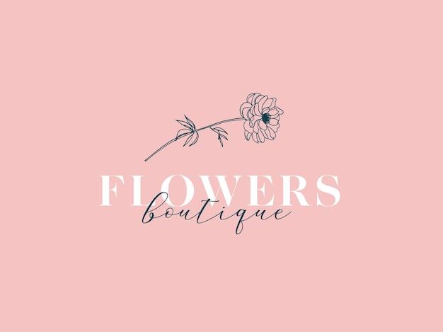 손으로 그린 식물 꽃 로고 간단한 라인 아트 스타일