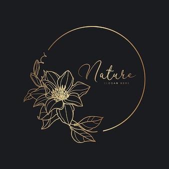 Ручной обращается ботанический цветочный шаблон логотипа