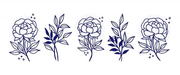 손으로 그린 식물 꽃 로고 요소