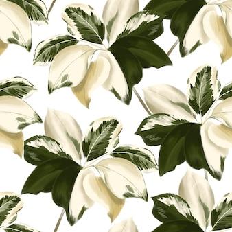 手描きの植物の葉モチーフ。野生植物のシームレスな森のパターン白い背景色に水彩風で印刷