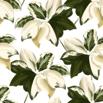 Hand drawn botanical leaves motifs . seamless   forest pattern of wild plants printing with in watercolor style on white background color