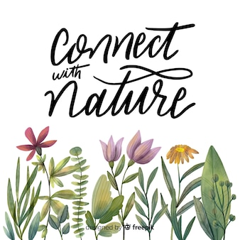 Hand drawn botanical lettering background
