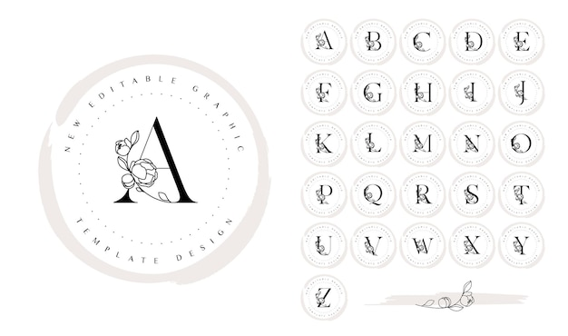 Hand drawn botanical logo design set with alphabet letters and peony flower elements