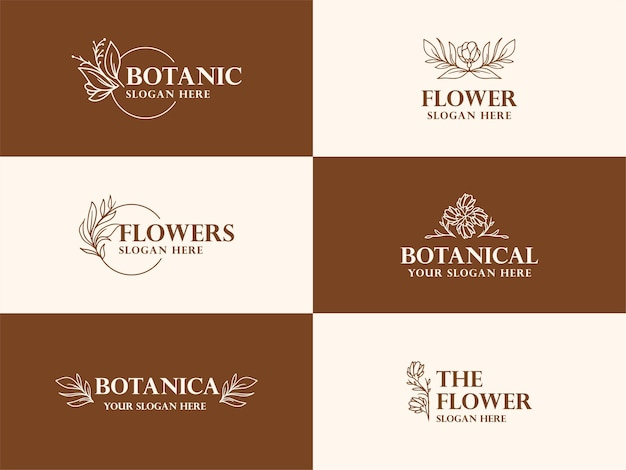 Hand drawn botanical logo illustration collection for beauty, natural, organic brand