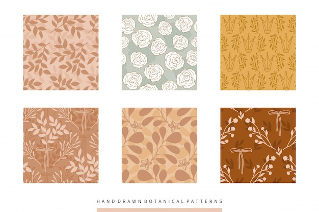 Hand drawn botanical patterns collection with flowers and leaves