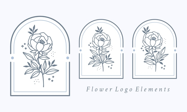 Hand drawn botanical peony flower logo element collection