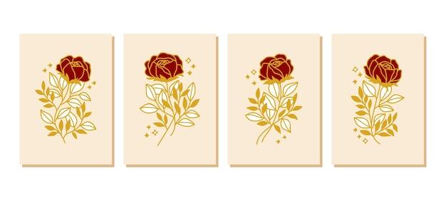 손으로 그린 식물 장미 꽃 카드 템플릿 컬렉션