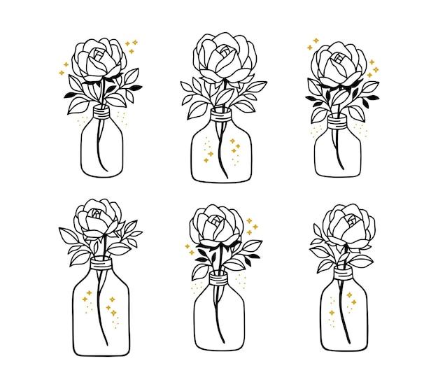Hand drawn botanical rose flower leaf branch vase bottle and jar line art element collections