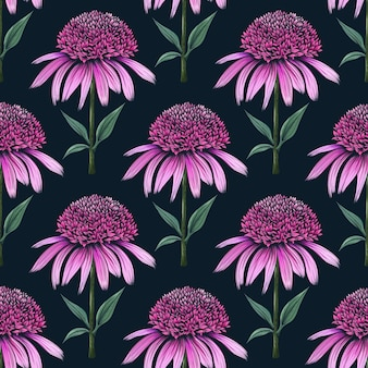 Coneflower 스탬프와 함께 손으로 그려진 된 식물 원활한 꽃 패턴
