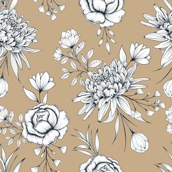 손으로 그린 된 식물 원활한 꽃 패턴