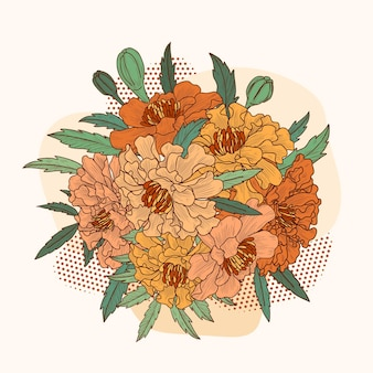 Hand drawn botanical sketch of marigold bouquet in vintage style