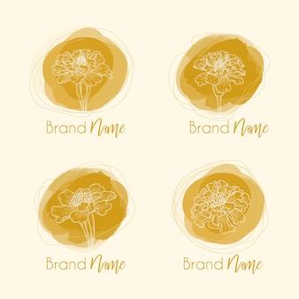 Hand drawn botanical sketch of marigold flowers in logotype design