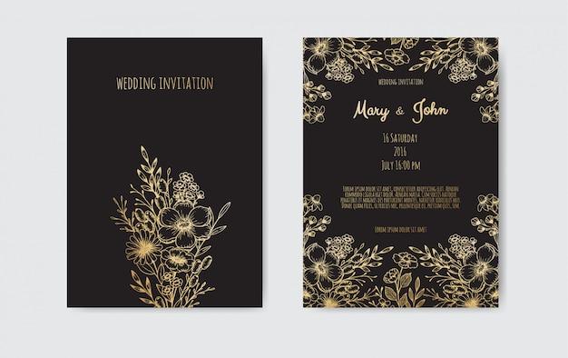 Hand drawn botanical wedding invitation card template