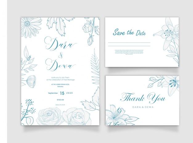 Hand drawn botanical wedding invitation