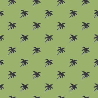 Ручной обращается ботаника экзотический бесшовные модели с каракули орнаментом кокосовой пальмы. бледно-зеленый фон. предназначен для тканевого дизайна, текстильной печати, упаковки, обложки. векторная иллюстрация.