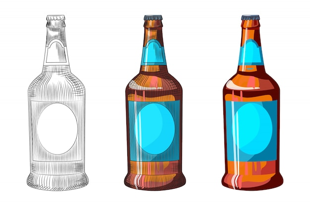 Hand drawn bottle of light beer isolated on white background. craft beer bottle template.