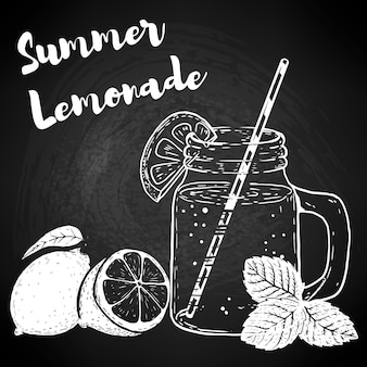 レモネード、レモン、ミントの葉で描かれたボトルを手します。ポスター、メニュー、チラシの要素。図。