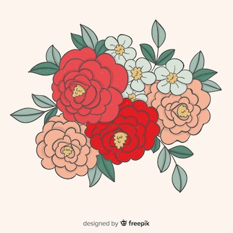 손으로 그린 꽃다발 배경