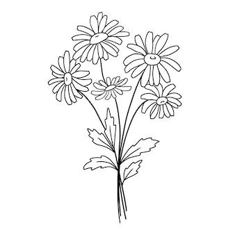 ヒナギクの手描きの花束