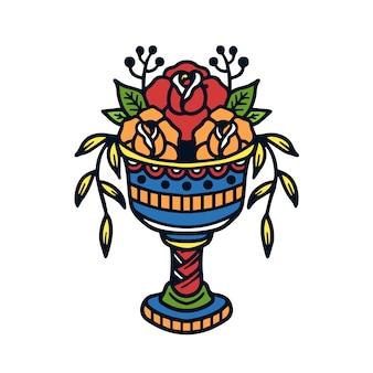 손으로 그린 꽃다발 장미 구식 문신 그림