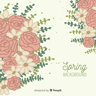 Hand drawn bouquet spring background