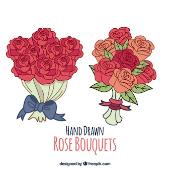 Hand drawn bouquets of roses