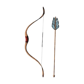 Hand drawn bow and arrow