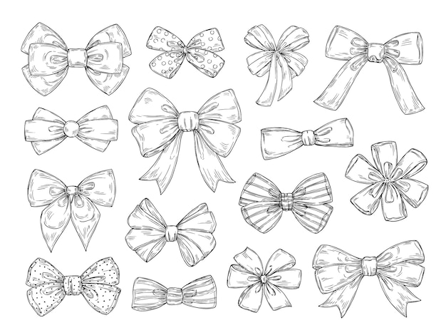 Hand drawn bow. fashion tie bows accessories sketch doodles tied ribbons. vintage isolated vector set