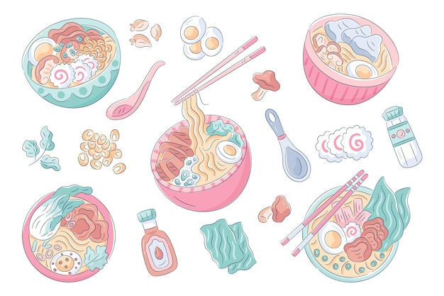 Hand drawn bowls of ramen soup