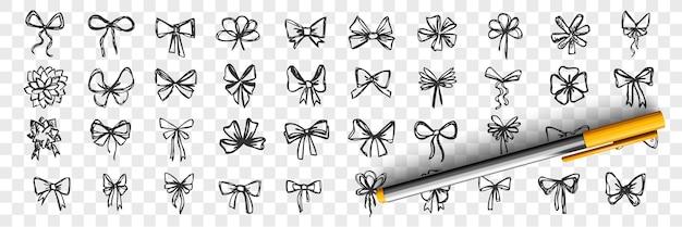 手描きの弓落書きセット。透明な背景に分離された装飾的な誕生日の休日のリボンのペン鉛筆画スケッチのコレクション。結婚式のお祝いの装飾のシンボルのイラスト。