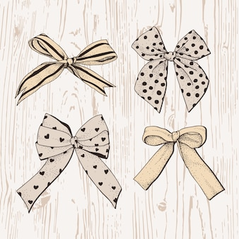 Hand drawn bows set