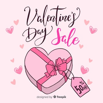 Hand drawn box valentine's day sale background