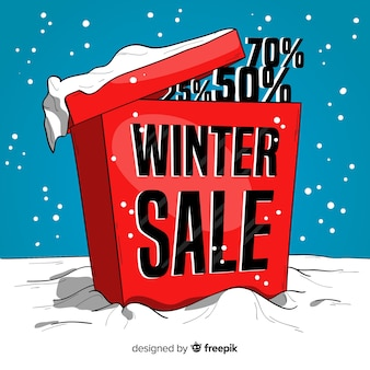 Hand drawn box winter sale background