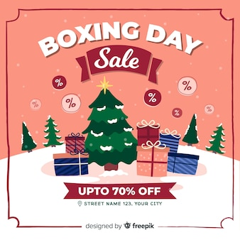 Hand drawn boxing day sale background