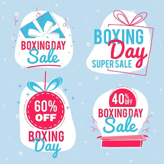 Hand drawn boxing day sale badge collection
