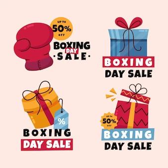 Collezione di badge vendita boxing day disegnati a mano