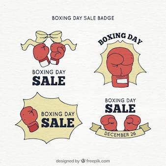 ボクシンググローブと手で描かれたボクシングの日の販売バッジ
