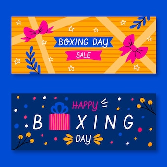Hand drawn boxing day sale banners template