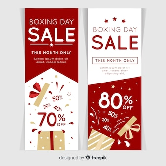 Hand drawn boxing day sale banners