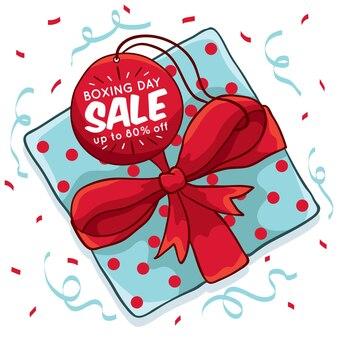 Нарисованная рукой концепция продажи дня рождественских подарков