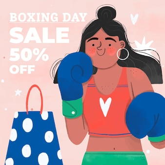 Hand drawn boxing day sale illustration