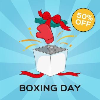 Vendita di boxe giorno disegnato a mano