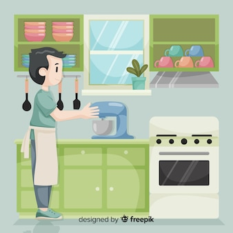 Hand drawn boy cooking background