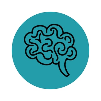Hand drawn brain icon over teal and white background. vector illustration