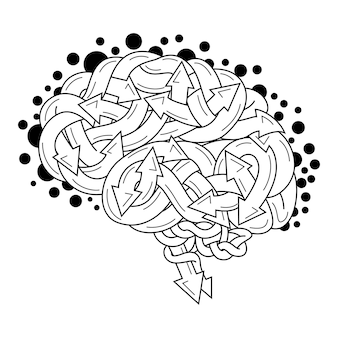 Hand drawn of brain in zentangle style