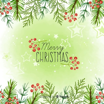 Hand drawn branches christmas background