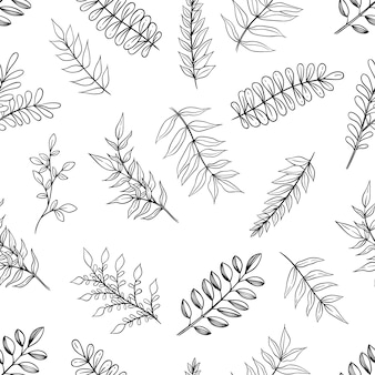Hand drawn branches or leaves seamless pattern